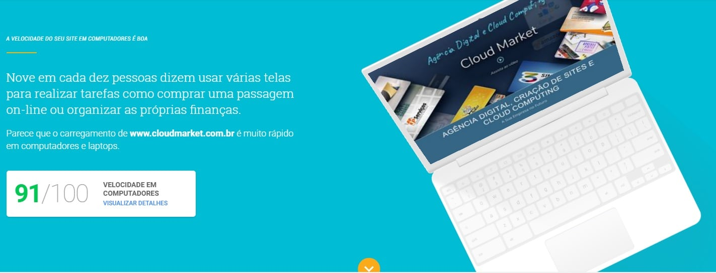 Velocidade do Site - Google test my site